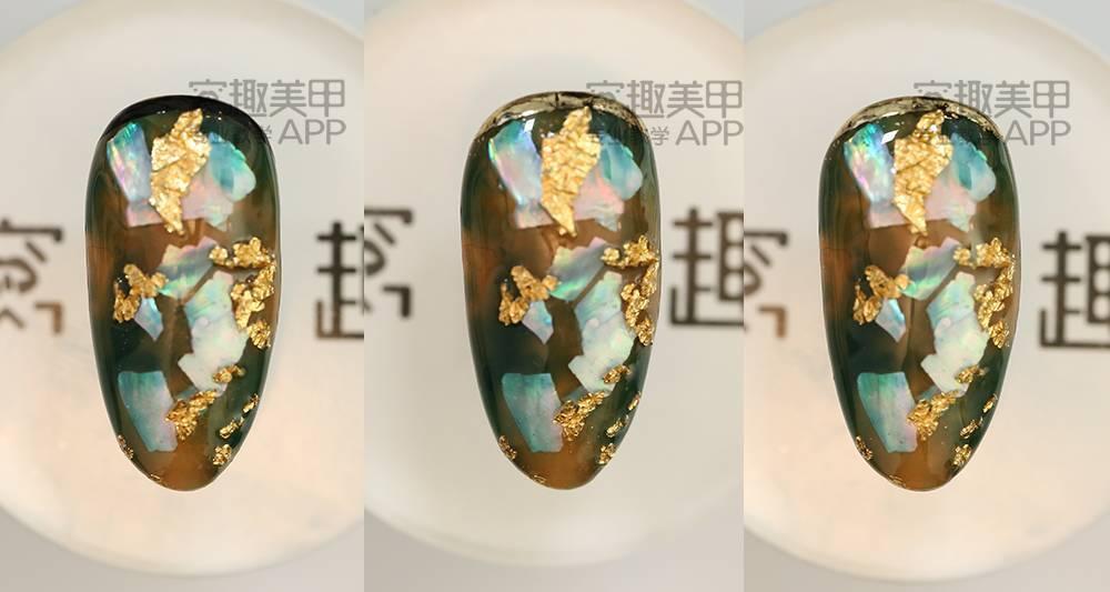 【窝趣晕染层次时尚】教程a层次几何美甲视频片贝壳的解题步聚图片