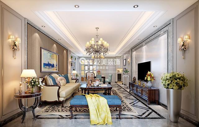 线条吊顶装修,沙发背景墙采用深咖色硬装,与之对应的电视背景则使用瓷