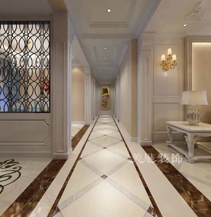 平面设计方案1楼 餐厅效果图,顶部的天花吊顶,与其呼应的地面拼花使