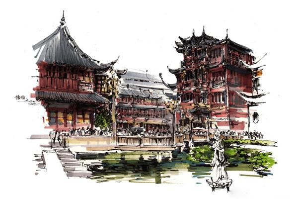 主教建筑钢笔画和马克笔绘画