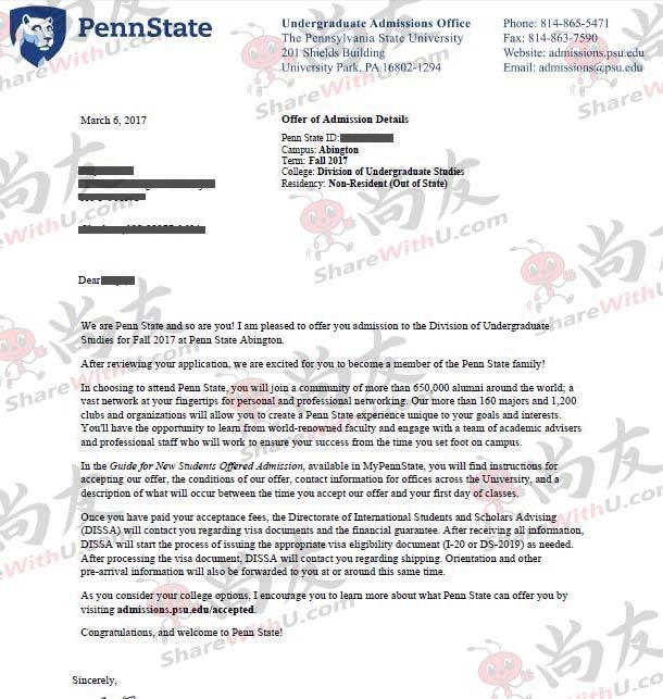 尚友美高GPA 3.6 获得宾州州立大学offer!