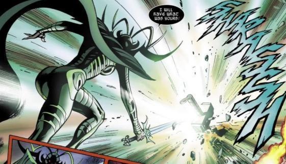 海拉试图用手中的暮光之剑(the twilight sword)劈碎雷神锤