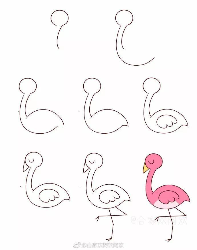 手账简笔画 | 一组小鸟和小狗简笔画步骤