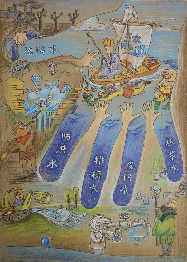 """杭州市""""五水共治,我参与""""创意绘画比赛,西湖学子图片"""
