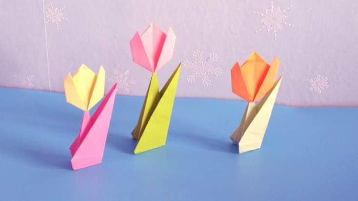 手工折纸: 庄重典雅的郁金香和花叶子的折法图解教程, 简单又漂亮!图片