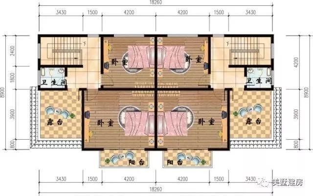 8x12.8米3层农村自建房别墅 平面图 基本信息 占地尺寸:16.8x12.
