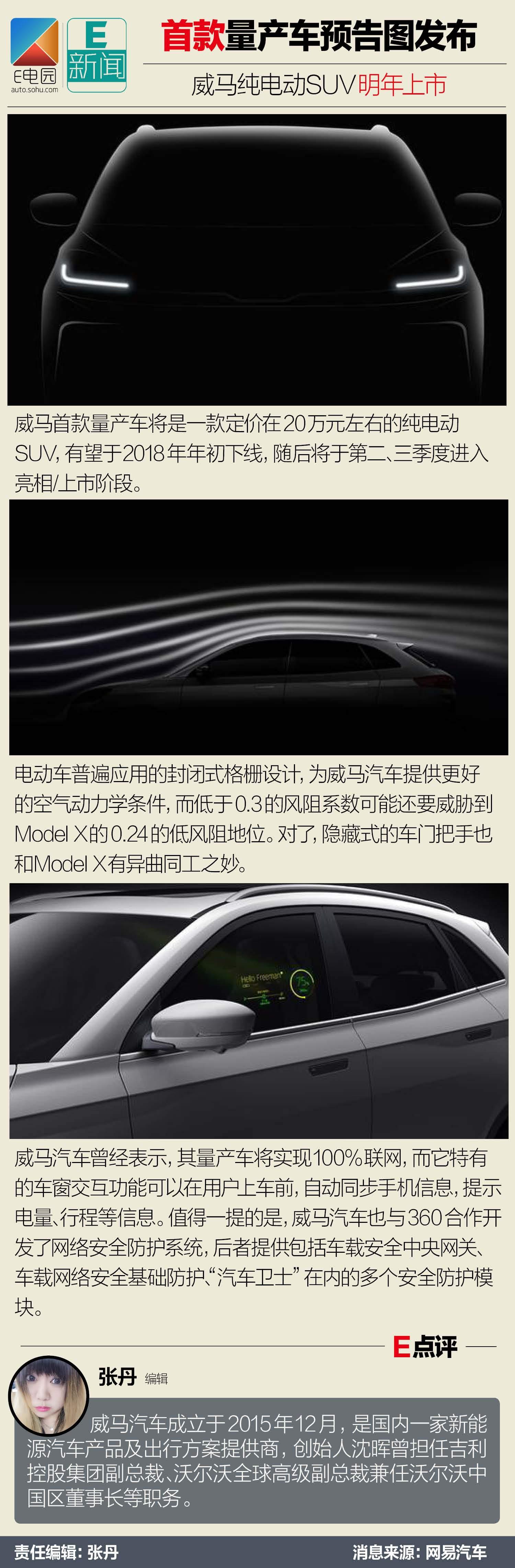 首款量产车预告图发布 威马纯电动SUV明年上市(第1页) -