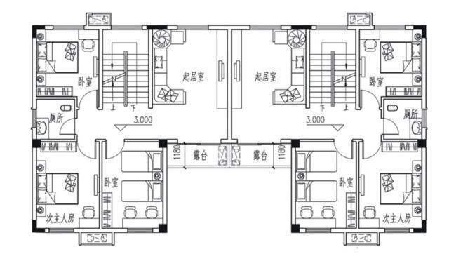 易盖房图纸:广东省新农村设计的农村别墅,两层半双拼农居