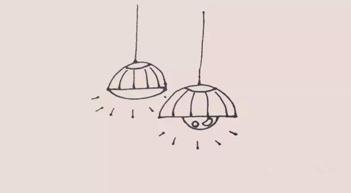 每日一画 吊灯 简笔画,弧线 直线基础线条的运用