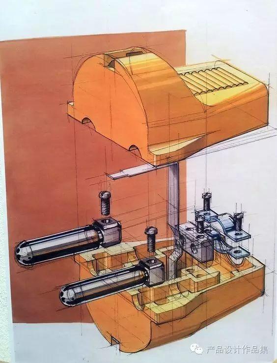产品手绘爆炸图,透视的产品结构!