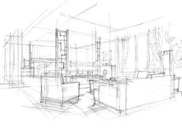 除了把握空间尺度,透视关系的准确性外,需要表现的室内布置物件和陈设