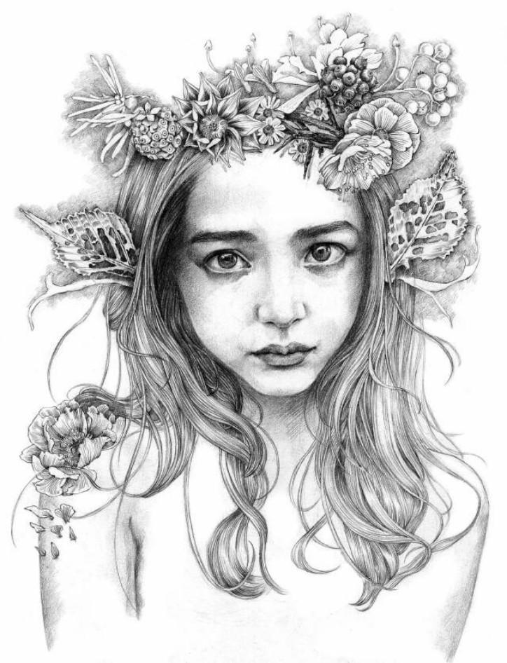 绘制发型时可以根据人物的性格去画,比如文静的女生适合直发,活泼的