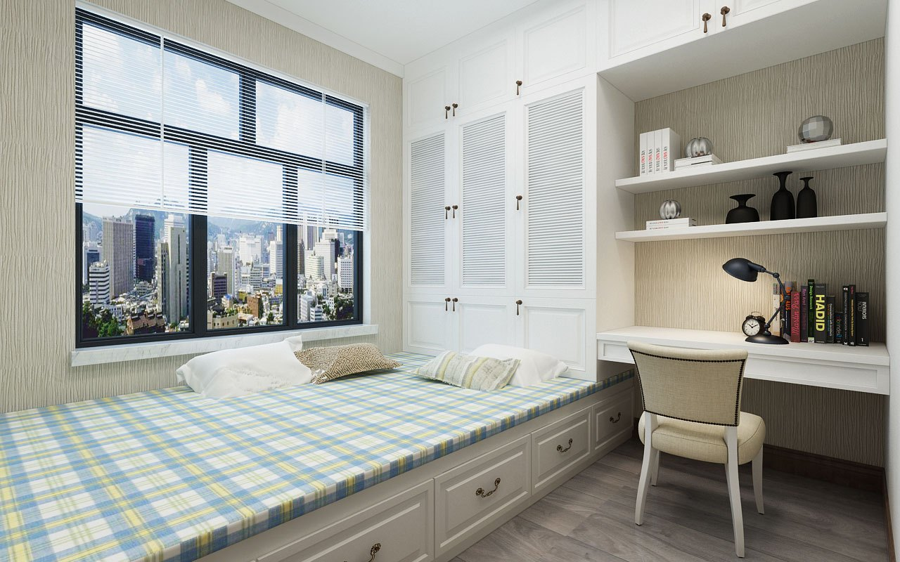次卧室榻榻米设计,白色家具搭配浅灰色地板,整体空间干净温馨