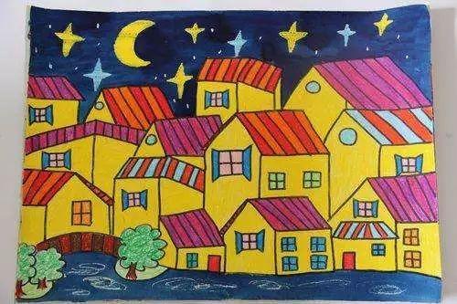 儿童画画大全蜡笔画 黄色的小房子 儿童蜡笔画