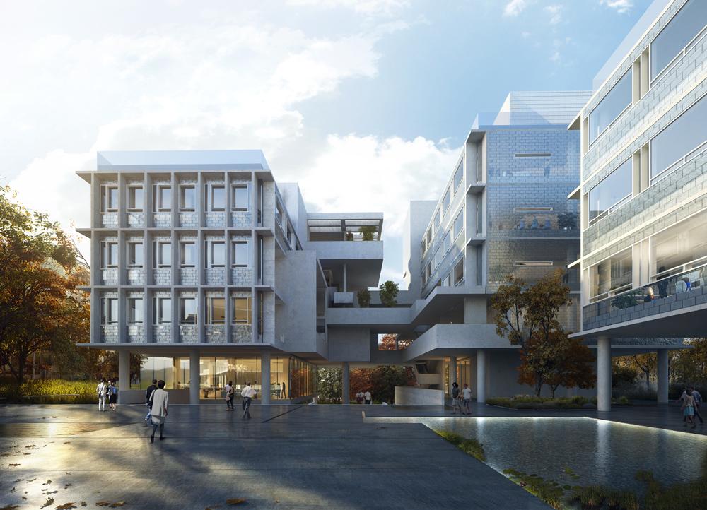 架空建筑_5米的大面积架空——11栋建筑如同漂浮在地面之上.