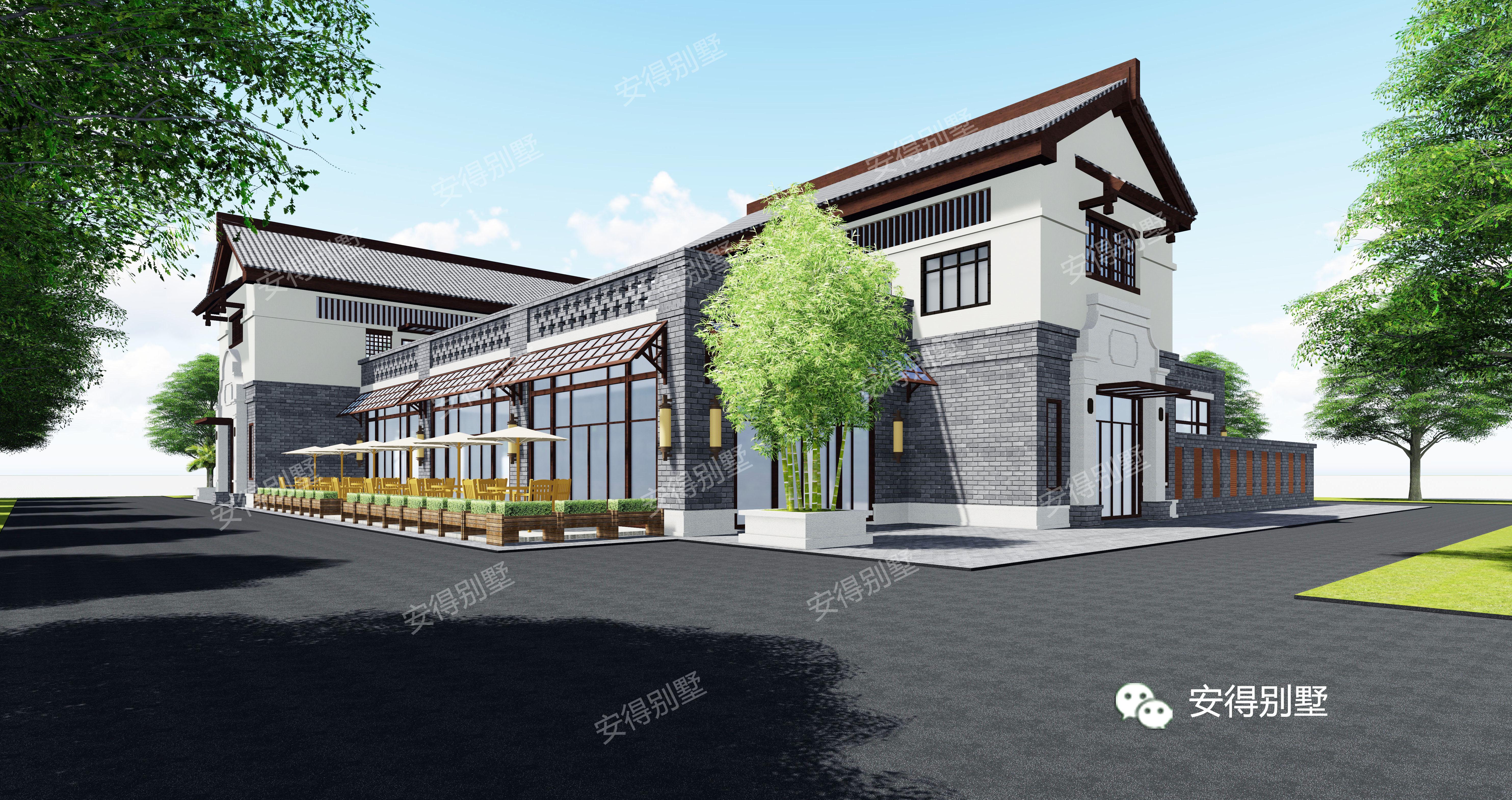 新农村建设,新中式风格沿街商铺,赶超市中心的商业街图片