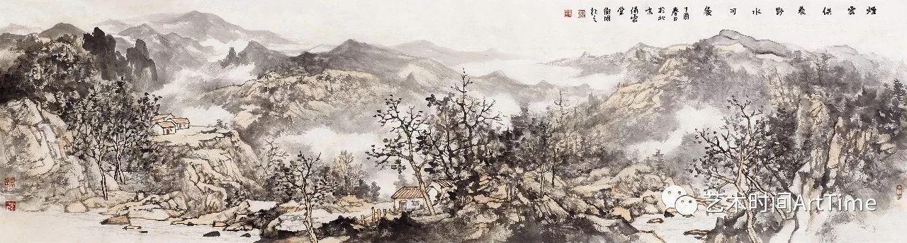 《窗含半壁泉》《夏山过雨图》等作品,画家已由密体山水转向对疏体
