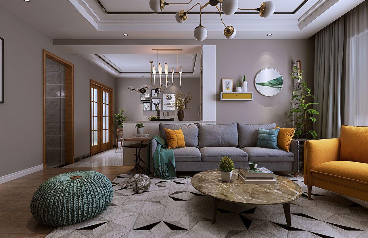 北欧风格,客户喜欢木色,以木色家具作为软装,造型以北欧风格来定义,一