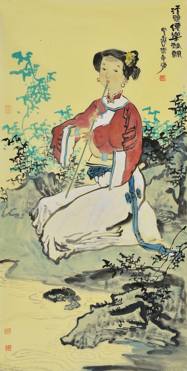 清新古代女子的手绘图