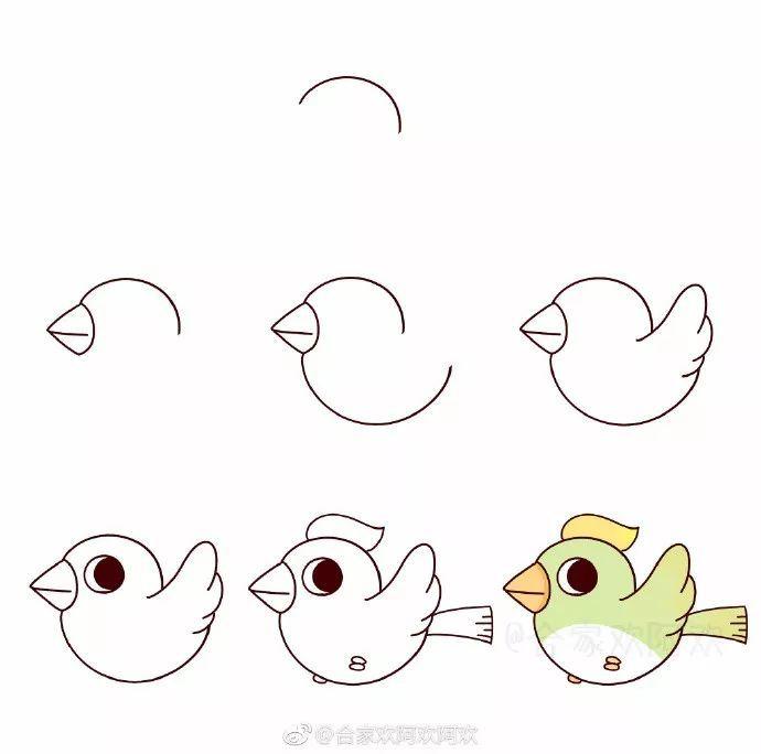 简笔画 | 可爱小鸟画起来!