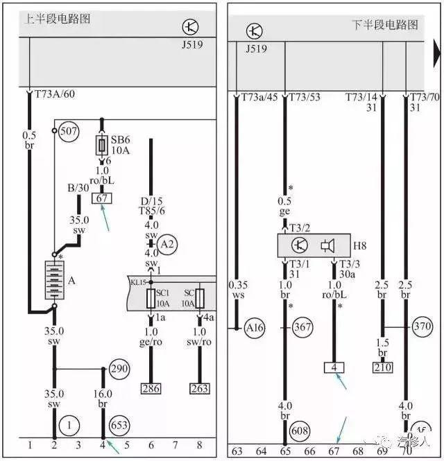 06 电路图最上边的内部正负线路 最上区域内部水平线为接电源正极的导线,有30、15、X等。电路中经常通电的线路使用代号30,接地线的代号是31,受控制的大容量用电设备的电源线代号是X,受控制的小容量用电设备的电源线代号是15。 常火线常电源就是在蓄电池正常的情况下,均有规定电压的电源线,如下图 所示,30 号线接蓄电池正极,汽车维修中称之为常火线。