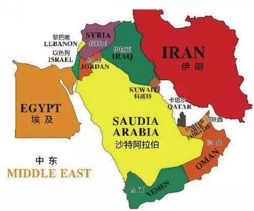 中东地区地图图片