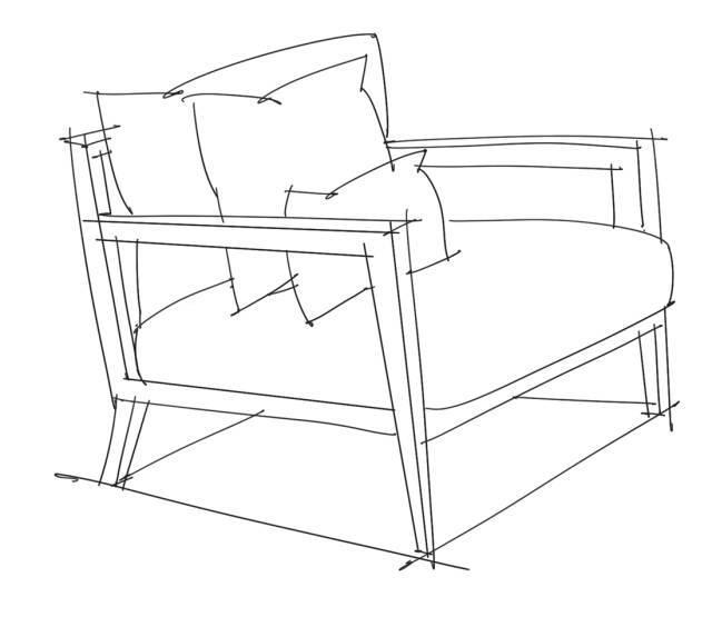 单体沙发透视手绘练习