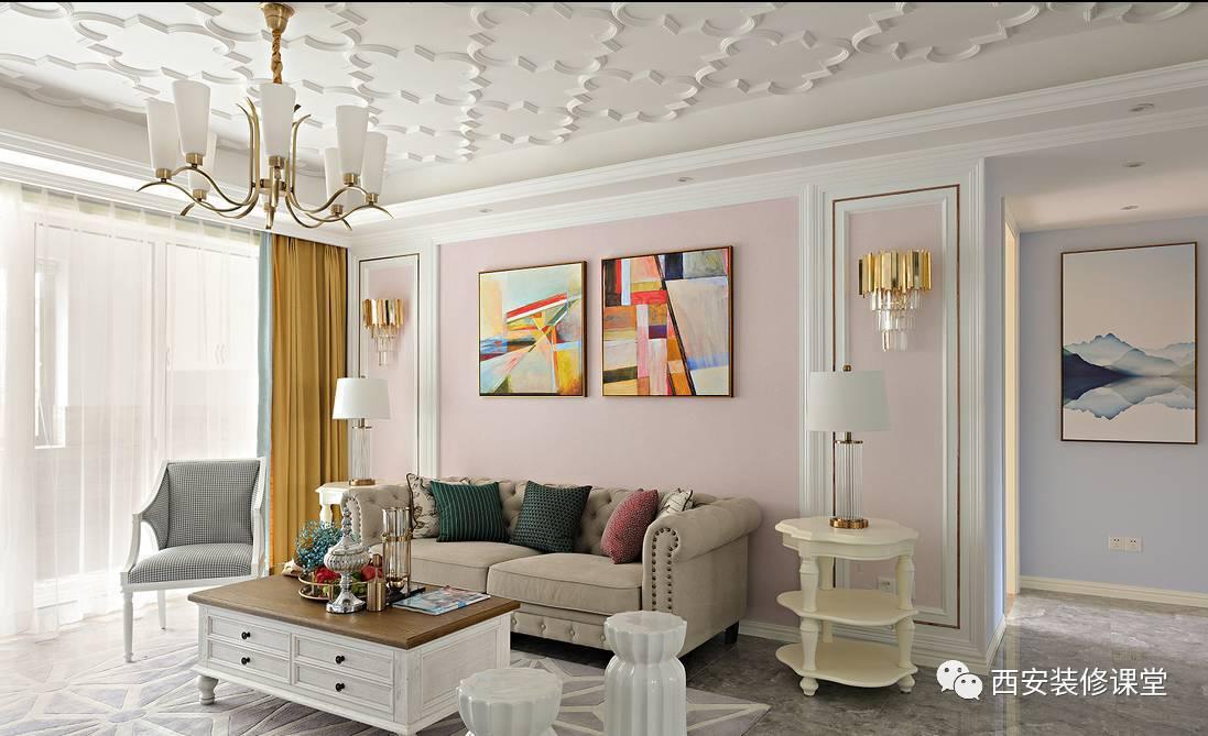 简法式客厅,沙发背景白色线条勾勒,钛金条点缀,粉色变色,抽象挂画及图片