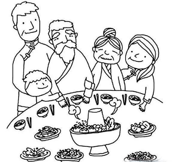 人物简笔画图片 幸福一家人