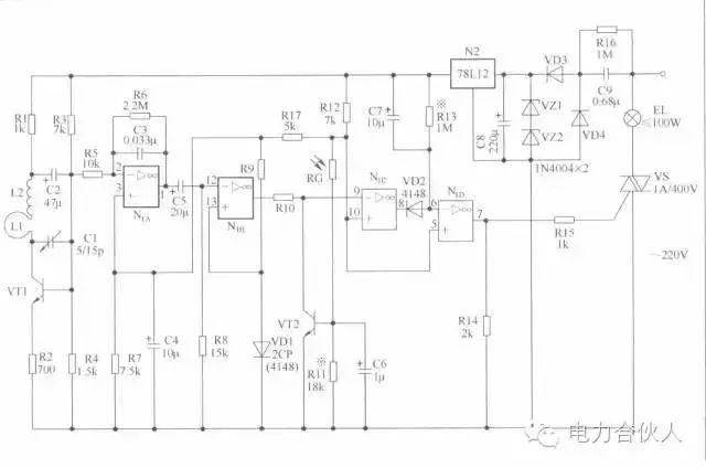 n1d输出端⑦脚呈高电位,通过r15触发双向晶闸管vs导通,白炽灯泡el点亮