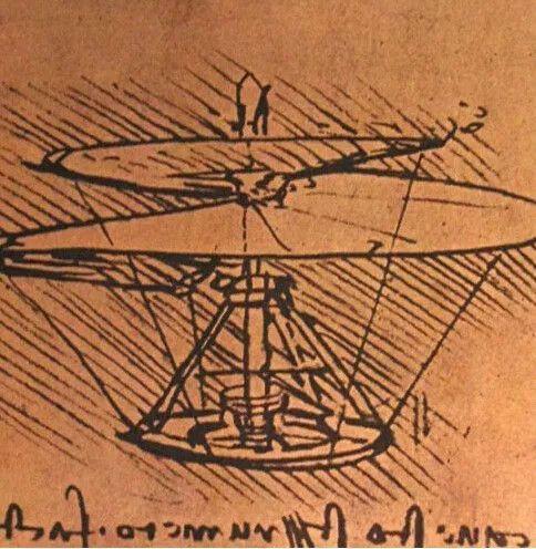 直升机设计图 达芬奇