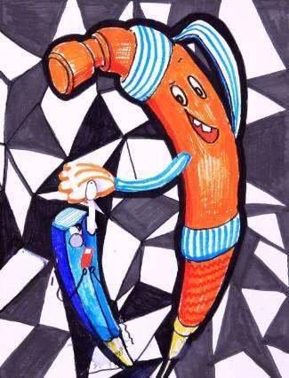 △用勾线笔,彩色铅笔和彩色油性笔画出的文具拟人画