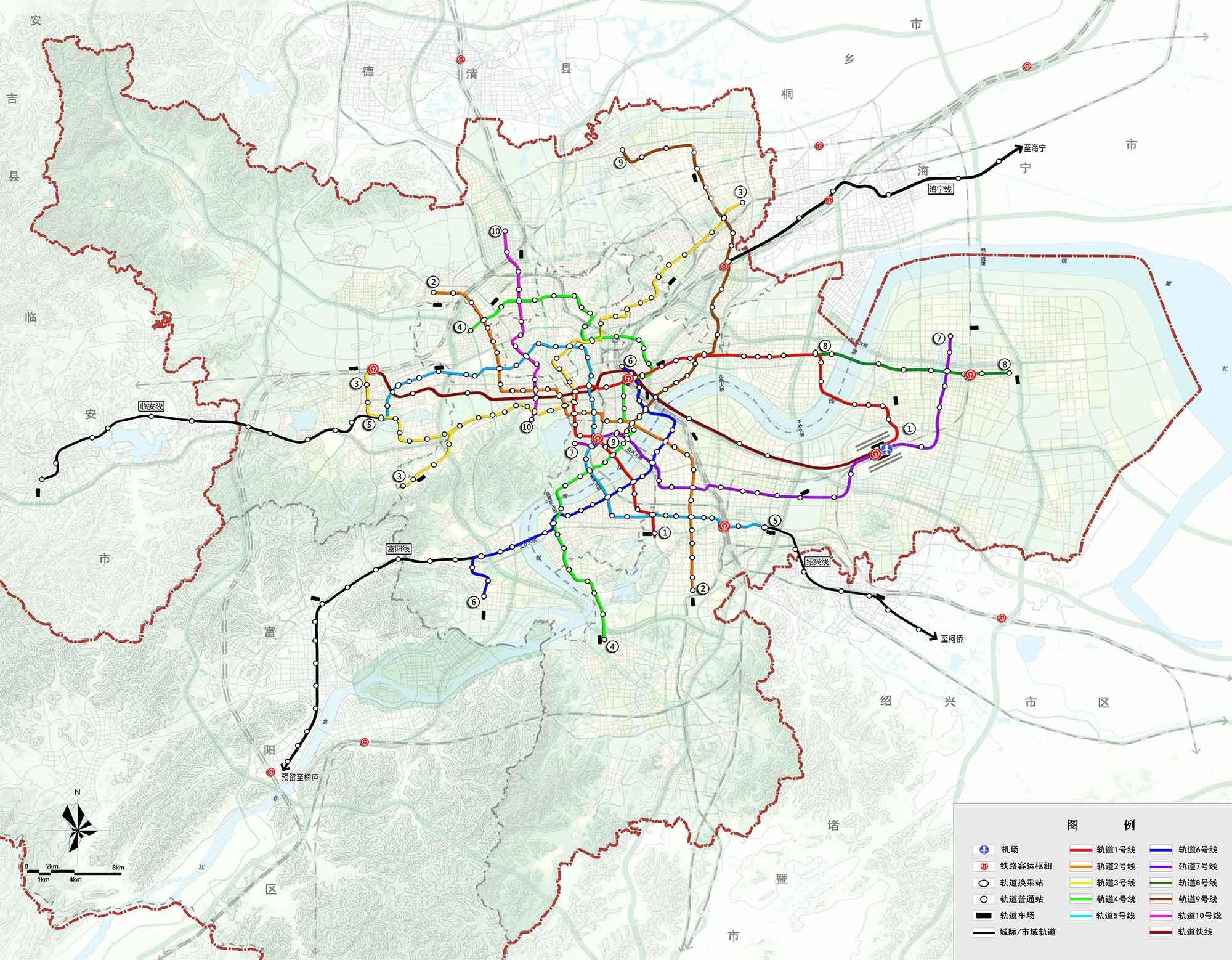 杭州城市综合交通专项规划修编:新增西站--萧山机场轨道快线图片