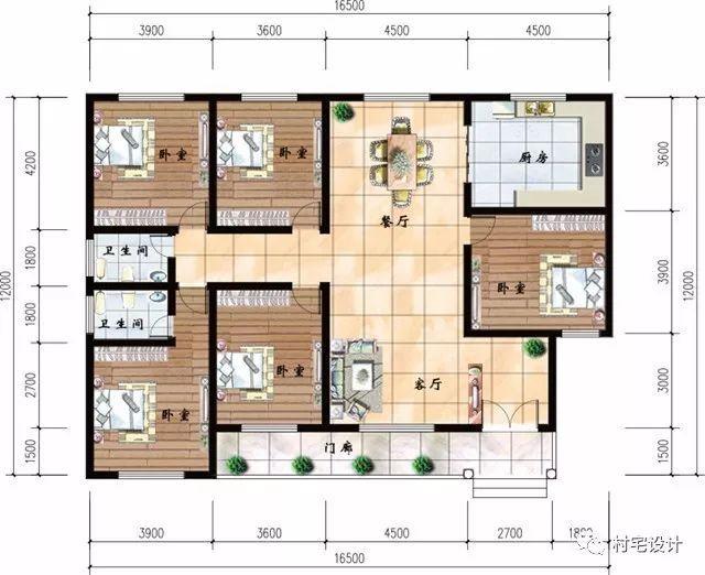 一层平面图:设有门廊,客厅,5卧室,2卫生间,厨房,餐厅图片