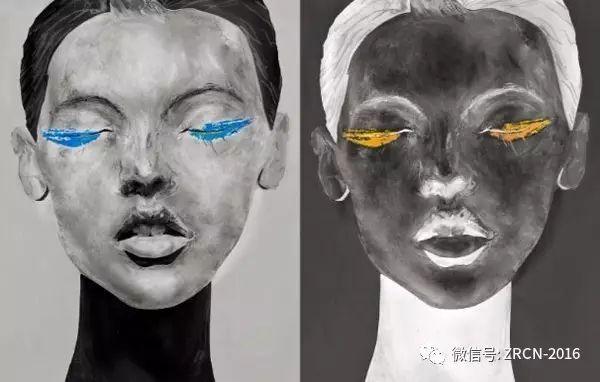 手绘人脸面具黑白