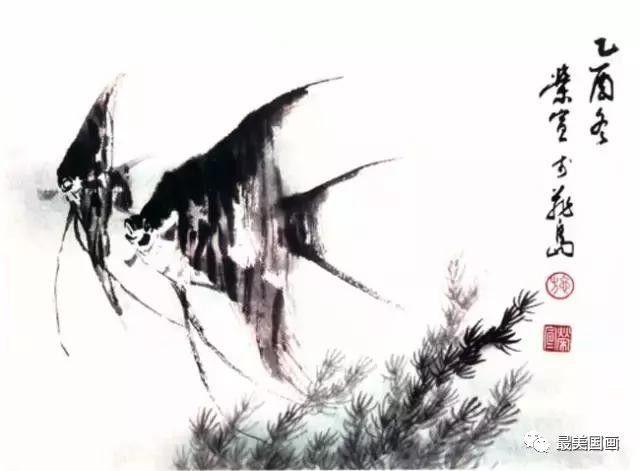 各种鱼的彩墨画法图文教程,水墨画鱼的画法,彩墨鱼的几种画法