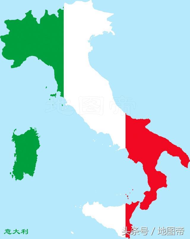 (意大利地图国旗) 下面我们就来介绍一下意大利的4个国中国.