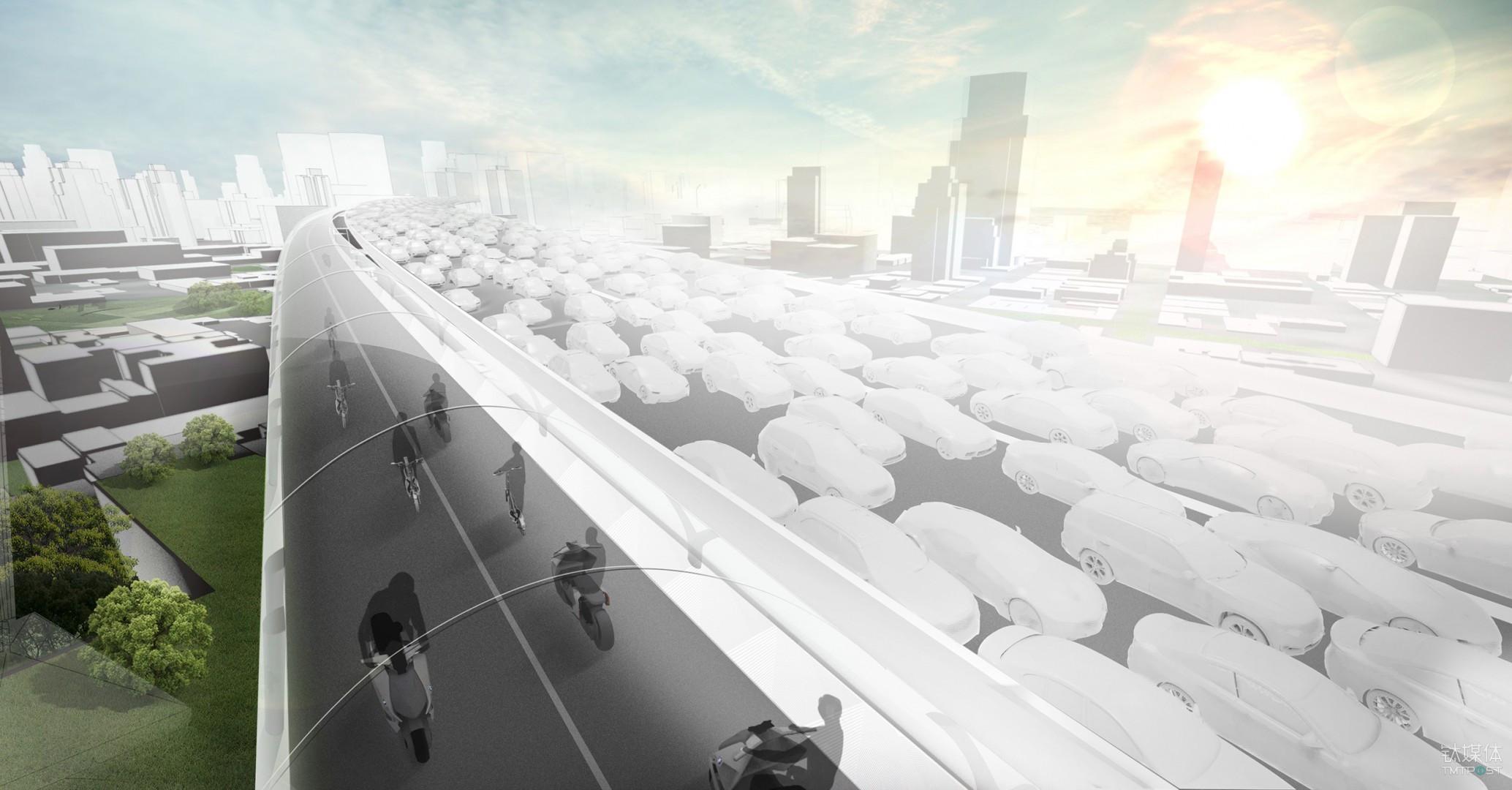 """智慧城市--天马行空畅想未来交通,宝马提出一种""""电动两轮车高架道路系统"""""""