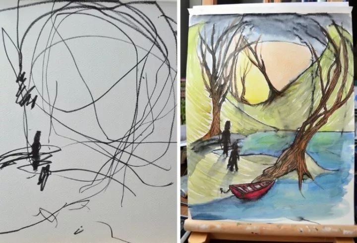 小孩子 抬头 手绘
