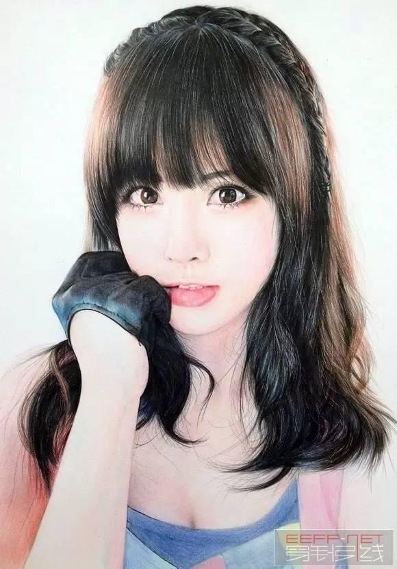 彩铅人物画:彩铅美女手绘过程图