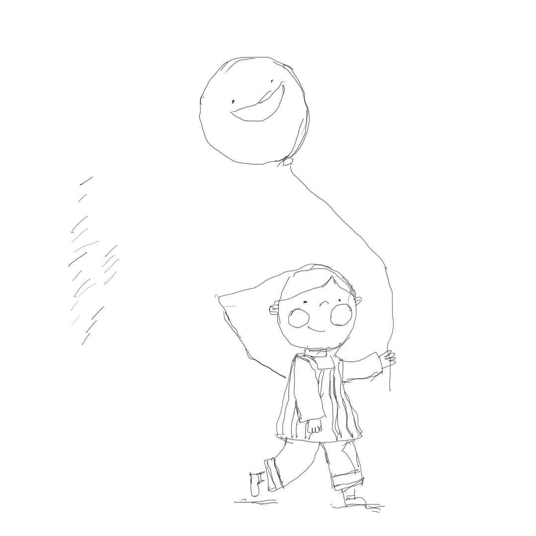 适合幼儿园照着画的简笔画教程 宝宝学画画拿气球风筝的小女孩
