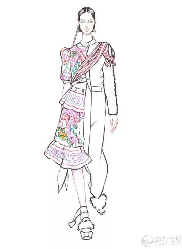 时装手绘 | 时装画分解步骤,印花长裙