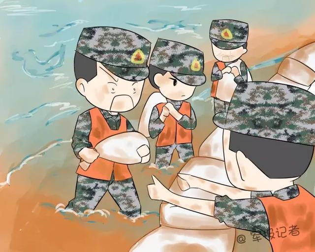 可爱军人动漫手绘图片