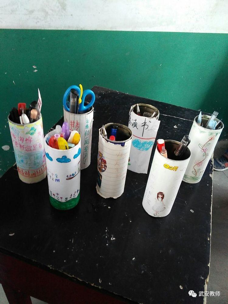康二城镇康东学校三年级学生利用易拉罐自制笔筒图片