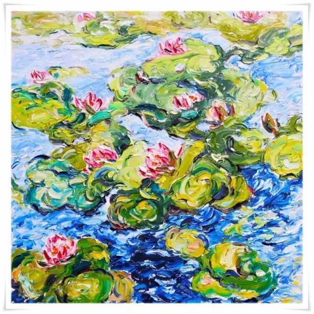 张亚冰的睡莲是三结合的方式:用雕塑的造型,中国画的水墨和构图要求,加上油画的色彩.图片