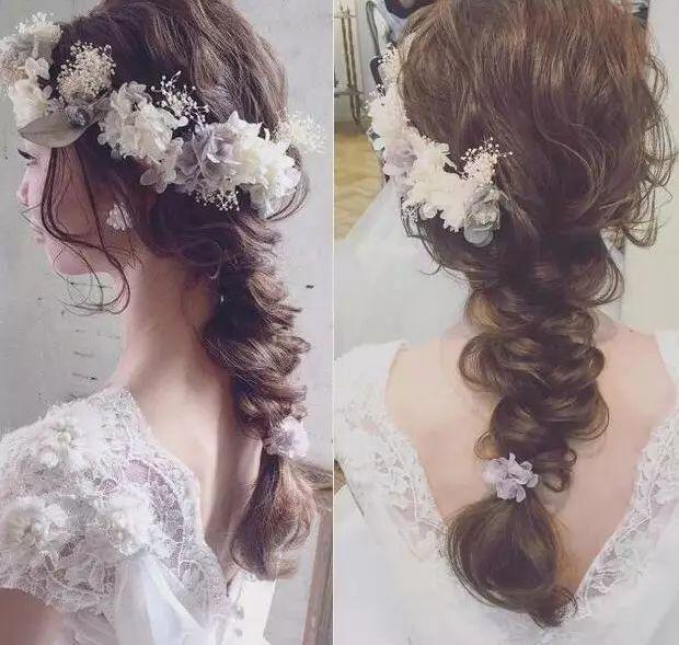 鲜花能塑造出浪漫,森系,甜美,复古等不同风格的新娘造型,传达专属女图片