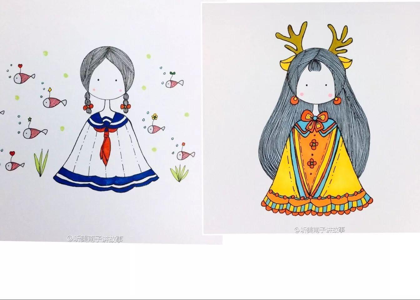 简笔画教程 | 简笔画女孩麋鹿少女