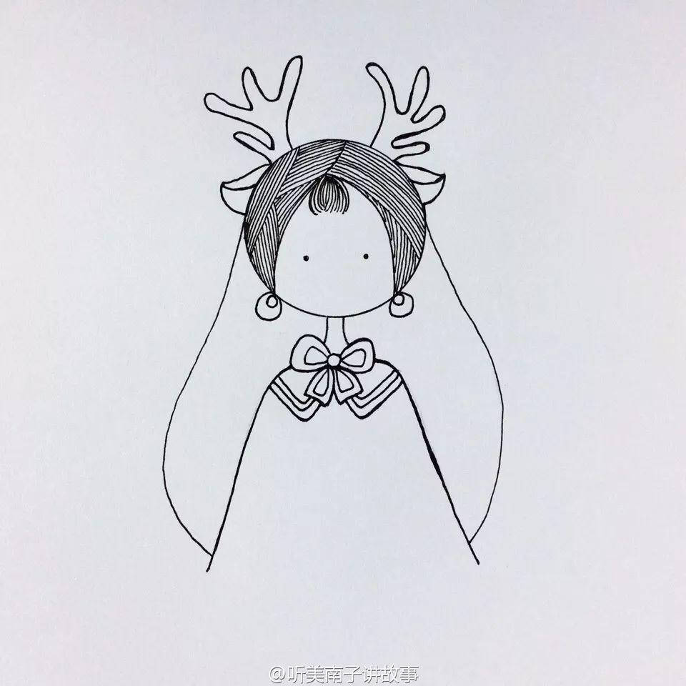 简笔画教程 简笔画女孩麋鹿少女