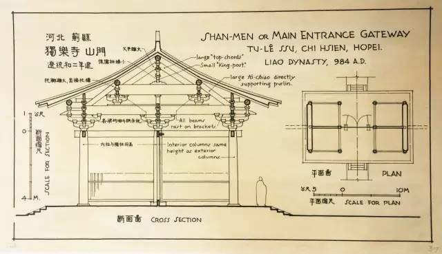 梁思成,手绘图像中国建筑史