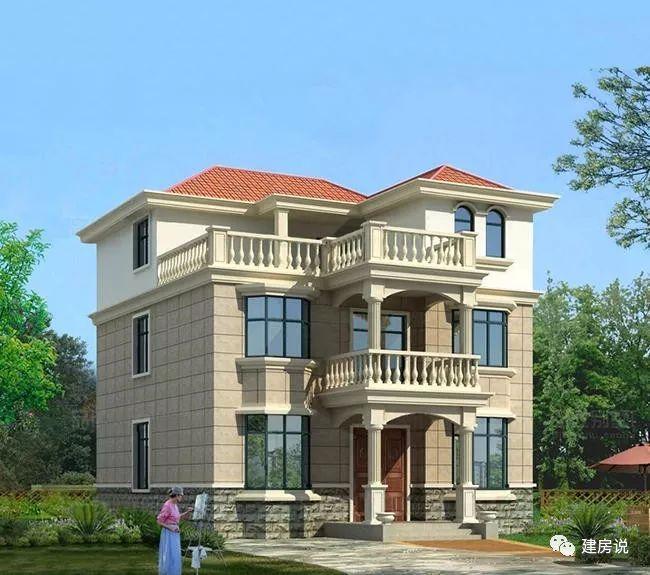 建造这套三层农村别墅,做的飘窗增加千百倍的效果